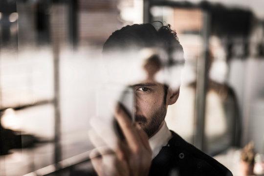 Businessman using smartphone, portrait