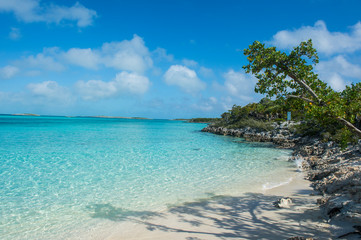 Caribbean, Bahamas, Exuma, turquoise waters and a white sand beach