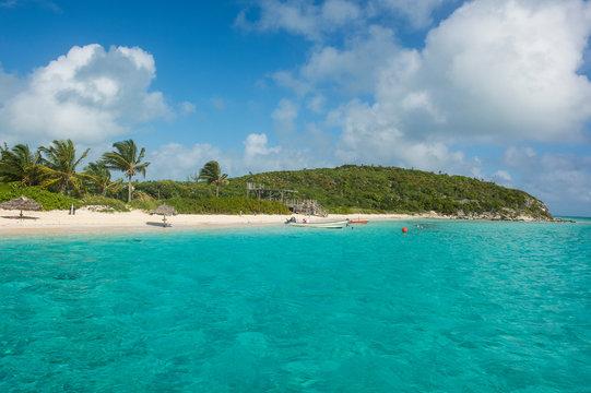 Caribbean, Bahamas, Exuma, turquoise waters and a white sand beach