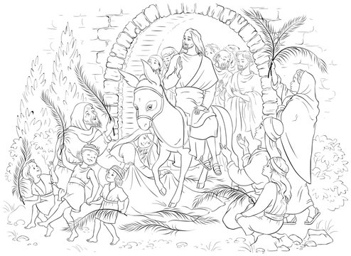 Entry of Our Lord into Jerusalem (Palm Sunday) coloring page. Jesus Christ riding a donkey. Crowds welcome him with palm fronds, spread clothes before him