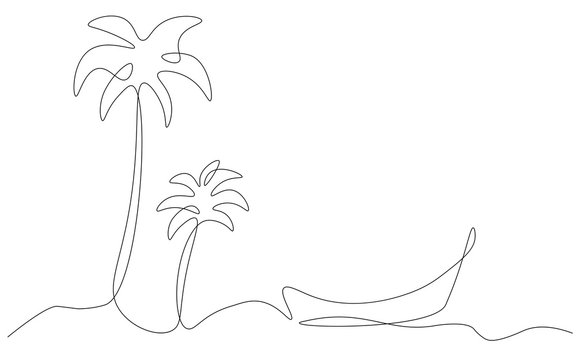 Beach background with boat and palm tree one line drawing vector illustration