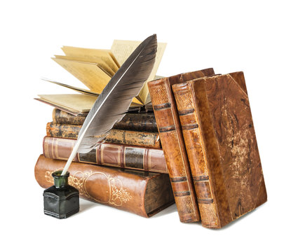 Old books and a quill