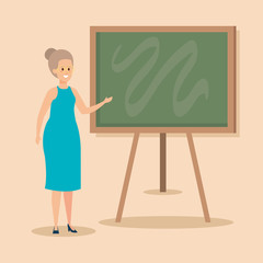 woman teacher with blackboard and elegant clothes