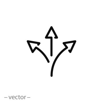three arrow, road direction icon, way sign on white background - editable stroke vector illustration eps10