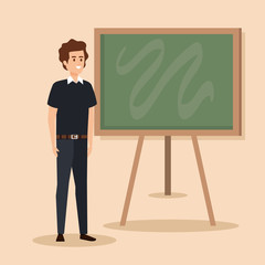 man teacher with hairstyle and clothes design