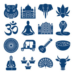 India national symbols, silhouette icons set in flat style