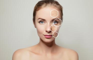 Obraz woman face portrait with problem old skin - fototapety do salonu