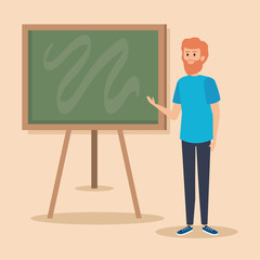 man teacher with casual clothes and blackboard