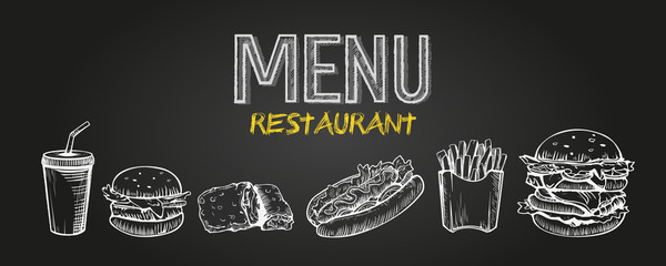 Menu poster design with chalkboard elements. Fast food menu skech style. Can be used for layout, banner, web design, brochure template. Vector illustration.