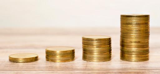 Financial planning concept,  gold money coins growing, web banner idea