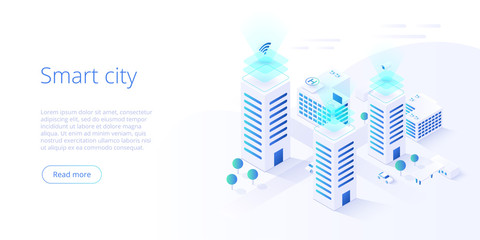Smart city or intelligent building isometric vector concept. Building automation with computer networking illustration. Management system or BAS  background. IoT platform as future technology. Fotomurales