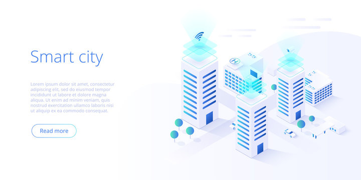 Smart city or intelligent building isometric vector concept. Building automation with computer networking illustration. Management system or BAS  background. IoT platform as future technology.