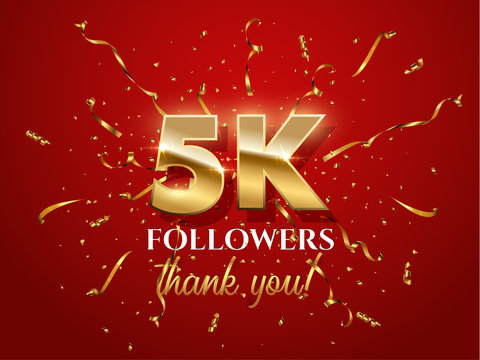 5000 followers celebration vector banner with text
