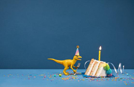 Yellow Dinosaur Eating Birthday Cake Slice over Blue Background