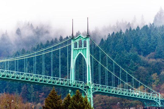 Famous popular arched gothic St Johns bridge in Portland Oregon