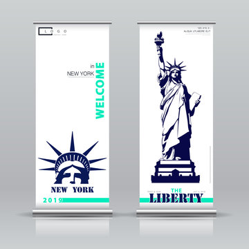 Statue of Liberty. New York. Vertical banner design Advertising sign. Flyer template vector X-banner and street business flag convenience. Information banner frame. USA. Font text. background layout