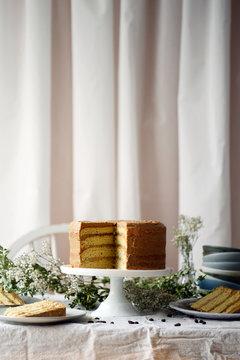 Sliced cake with hazelnut chocolate coffee frosting