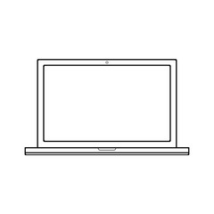 Laptop notebook black white out lines on black background. Laptop notebook tablet vector eps10.