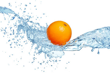 Wall Mural - orange in water splash isolated on white background