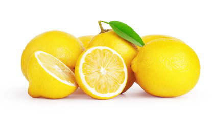 Wall Mural - fresh lemon fruits isolated on white background