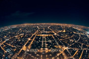 amazing night view from french eiffel tower; beautiful skyline of night paris Fototapete