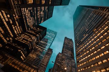 night view of Toronto city skyscrapers look up