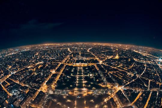 amazing night view from french eiffel tower; beautiful skyline of night paris