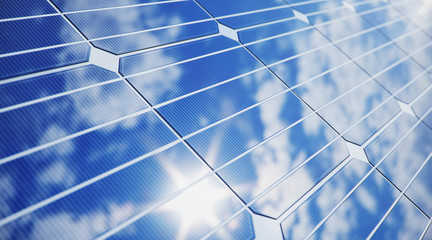 3D illustration solar Panels close-up. Alternative energy. Concept of renewable energy. Ecological, clean energy. Solar panels, photovoltaic with reflection beautiful blue sky.