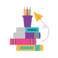 books paper plane school supplies