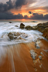 Fototapete - Sunrise over the beach in terengganu, malaysia