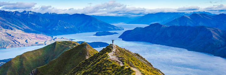 Roys Peak Scenic View Over Lake Wanaka Scenery of New Zealand Landscape Background. Wall mural