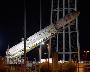 Northrop Grumman Antares rocket rolls out to Pad-0A at at NASA's Wallops Flight Facility