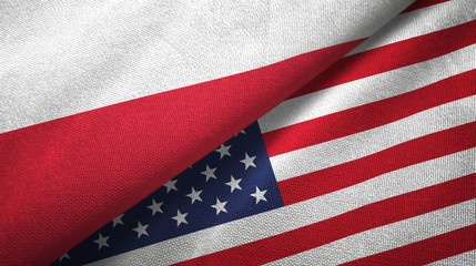 Poland and United States two flags textile cloth, fabric texture Wall mural