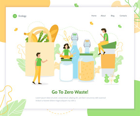Go to Zero Waste. Ecology banner. Landing page design template. Flat vector illustration.