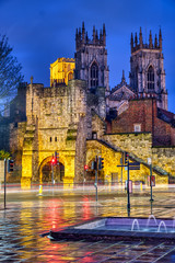 The city gate Bootham Bar and the famous York Minster at night