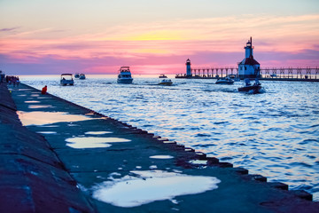 St Joseph river and lighthouse, Michigan, at sunset