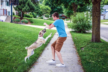 Dog playing and jumping up on teenage boy