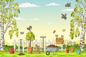 Wall Mural - Spring landscape with gardening tolls and birds. Hand draw vector illustration.