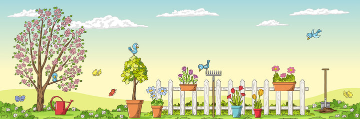 Wall Mural - Panorama spring landscape with gardening tools. Hand draw vector illustration.