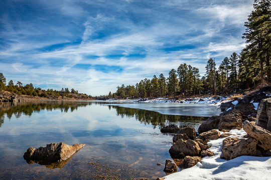 A quiet wintry scene along the shore of Fools Hollow Lake. Near Show Low in Arizona's White Mountains.