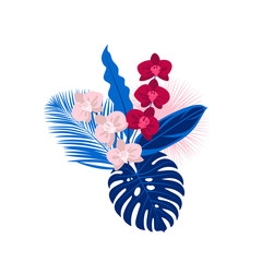 Keuken foto achterwand Grafische Prints Bouquet of tropical leaves and flowers