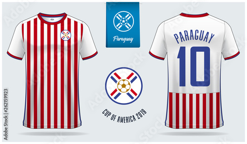 5949151bb Set of soccer jersey or football kit mockup template design for Paraguay  national football team.