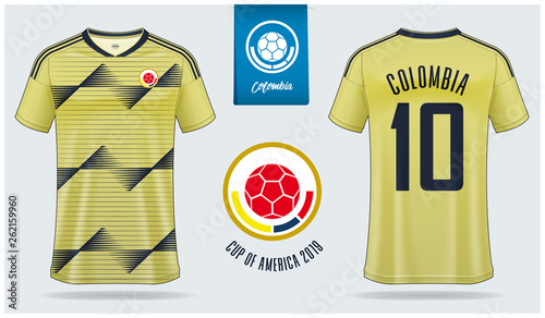24342b7eb Set of soccer jersey or football kit mockup template design for Colombia  national football team.