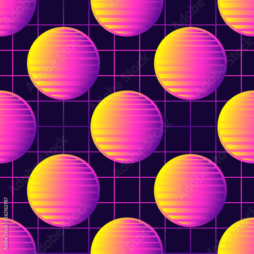 Neon retrowave 80s style seamless pattern with spheres, sun