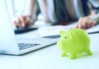 Woman's hand pointing on summary report chart and calculate finance in office close-up. Calculator, green Piggy Bank, Laptop, business chart and graph document on desk. Debt.