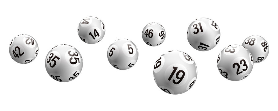 Vector white rolling bingo lottery balls