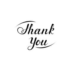 thank you phrase. handwritten text calligraphic slogan. design element for greeting card, banner, invitation, postcard, vignette, flyer. black and white vector illustration