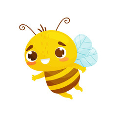 Sweetie bee in flight. Cartoon style. Vector illustration on white background.