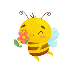 Happy bee with flower in hand. Vector illustration. Cartoon style.