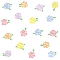 水彩 バラ イラスト セット